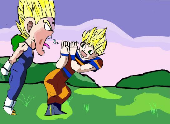 Vegeta yelling at Goku