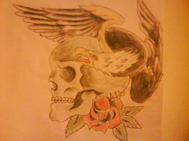 Skull, eagle, rose