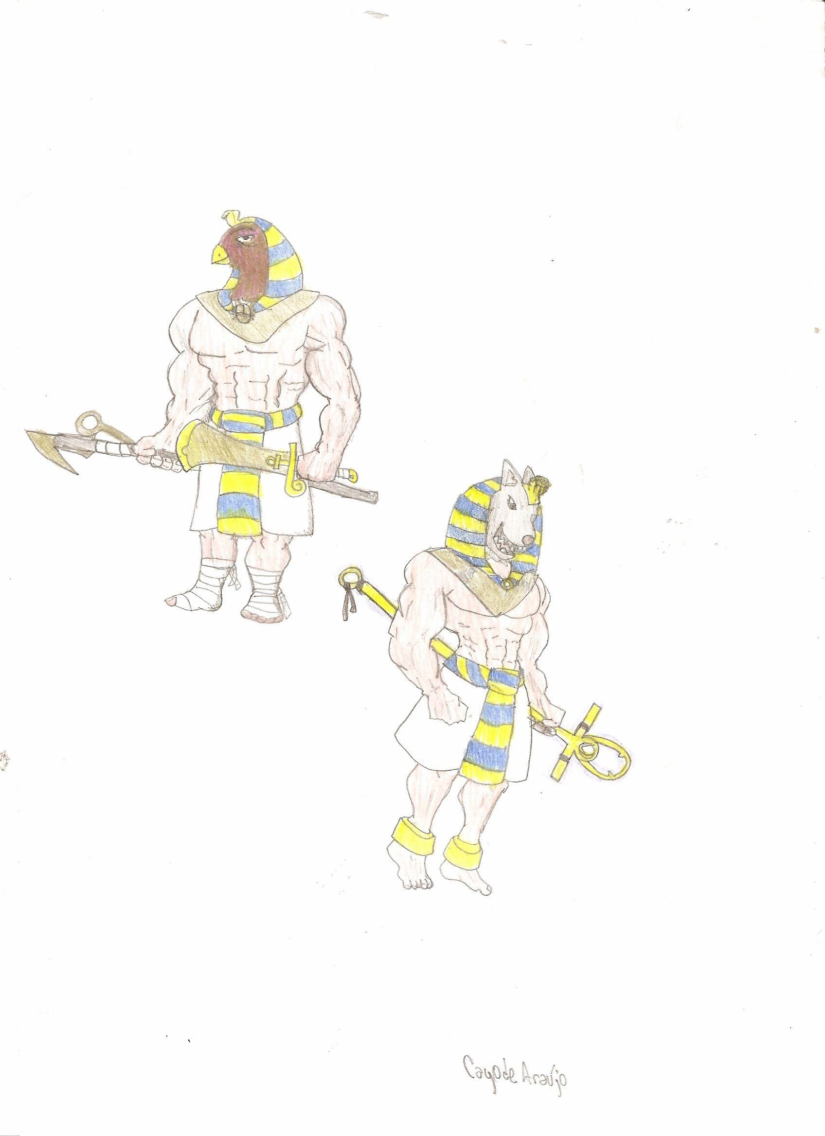 Horus(?) & Anubis @ pencils