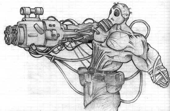 Gas Mask Zombie W/ Minigun