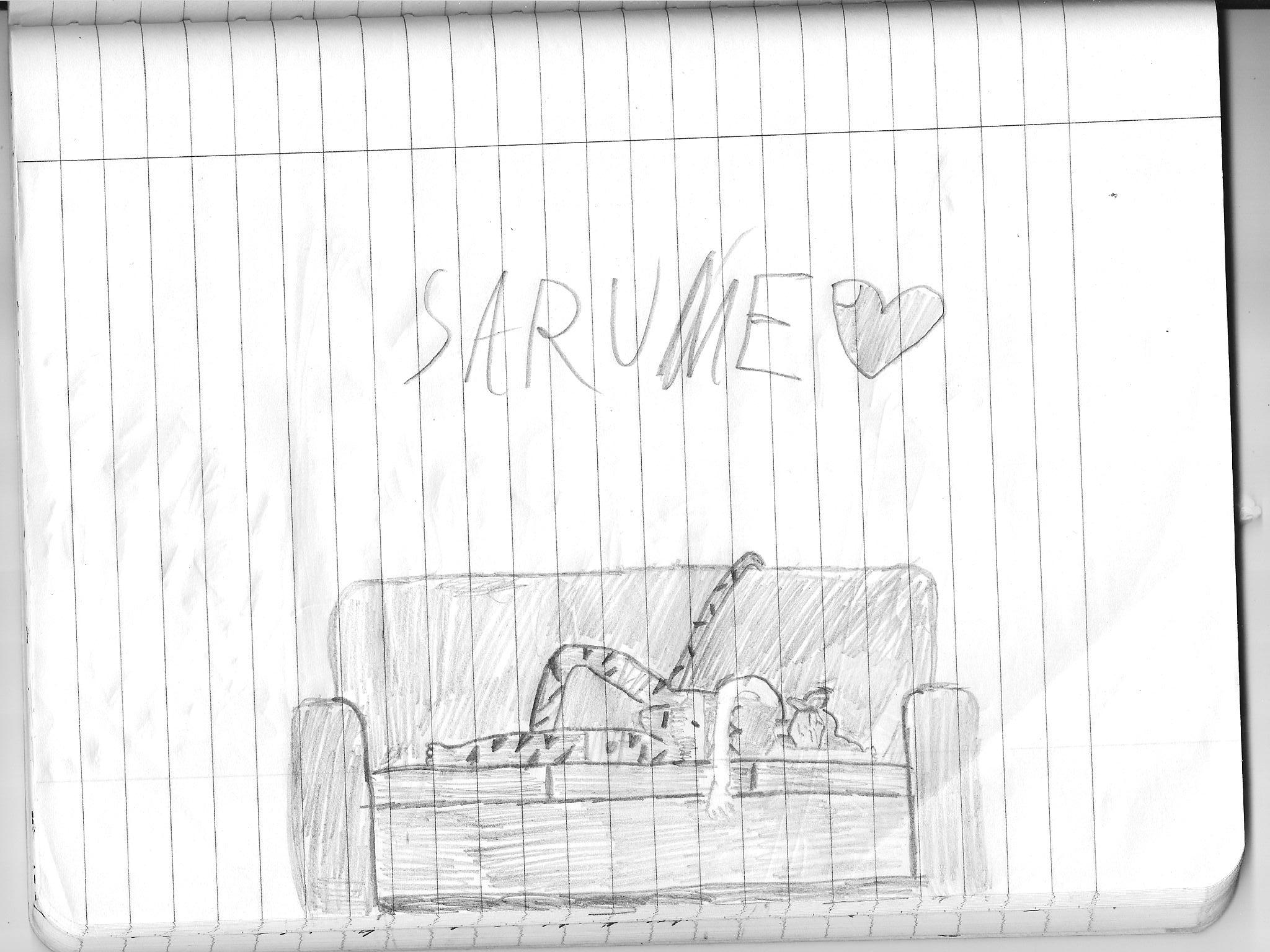 sarume asleep on couch