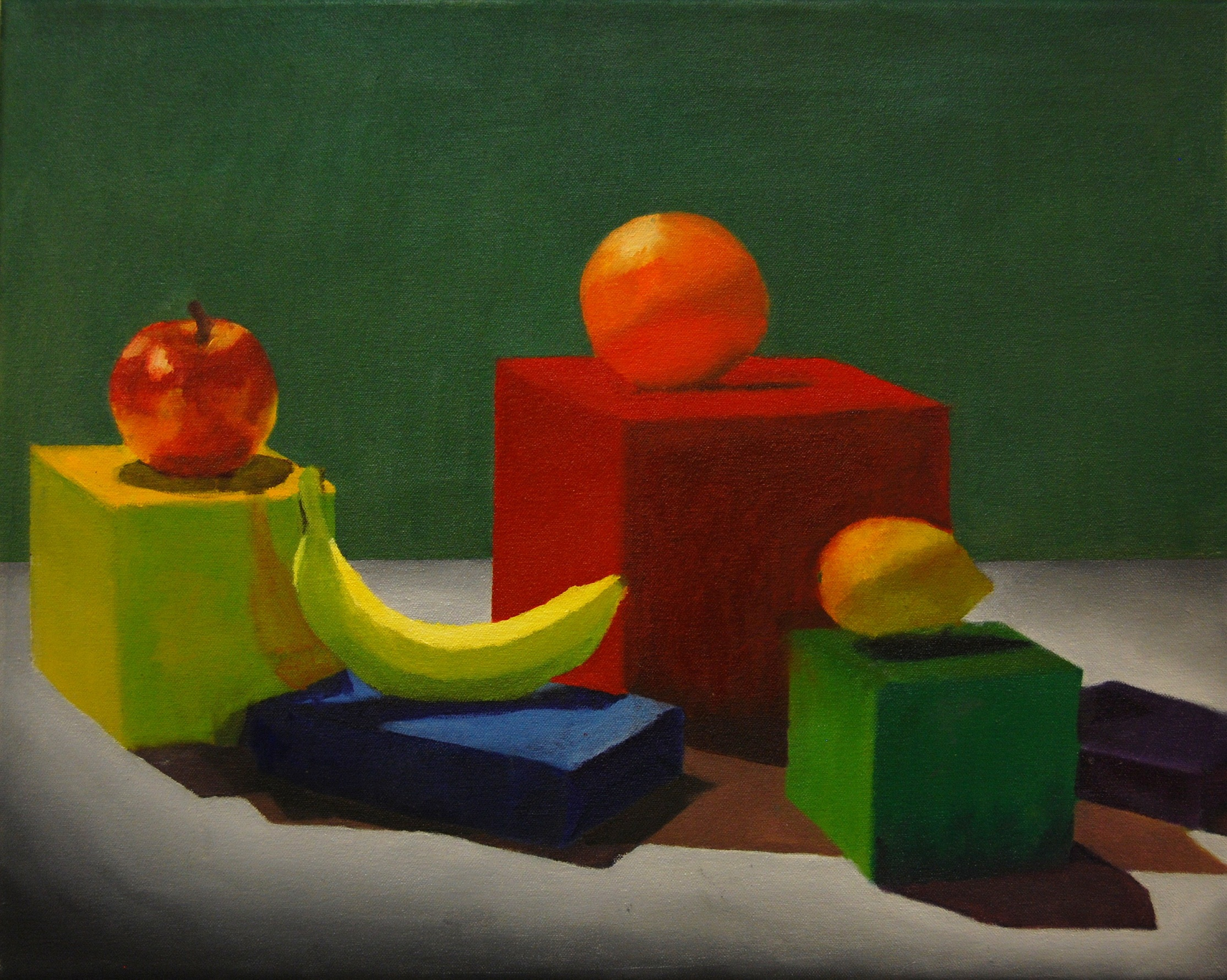 Still Life: Boxes and Fruit
