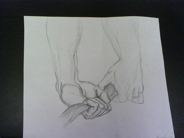 Hands holding branch