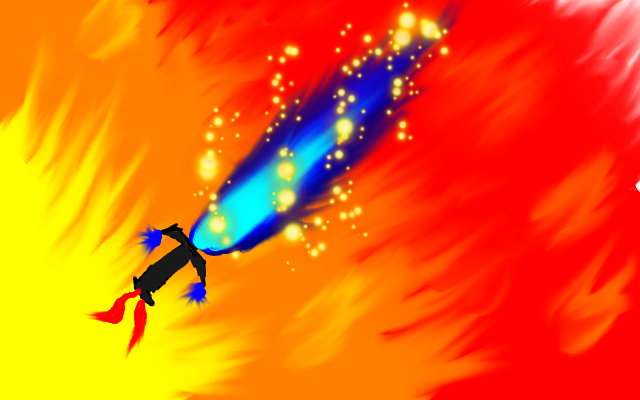 Blue flaming sword