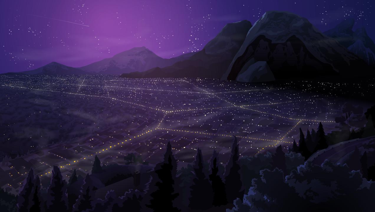 """Comet"" Cityscape Background"