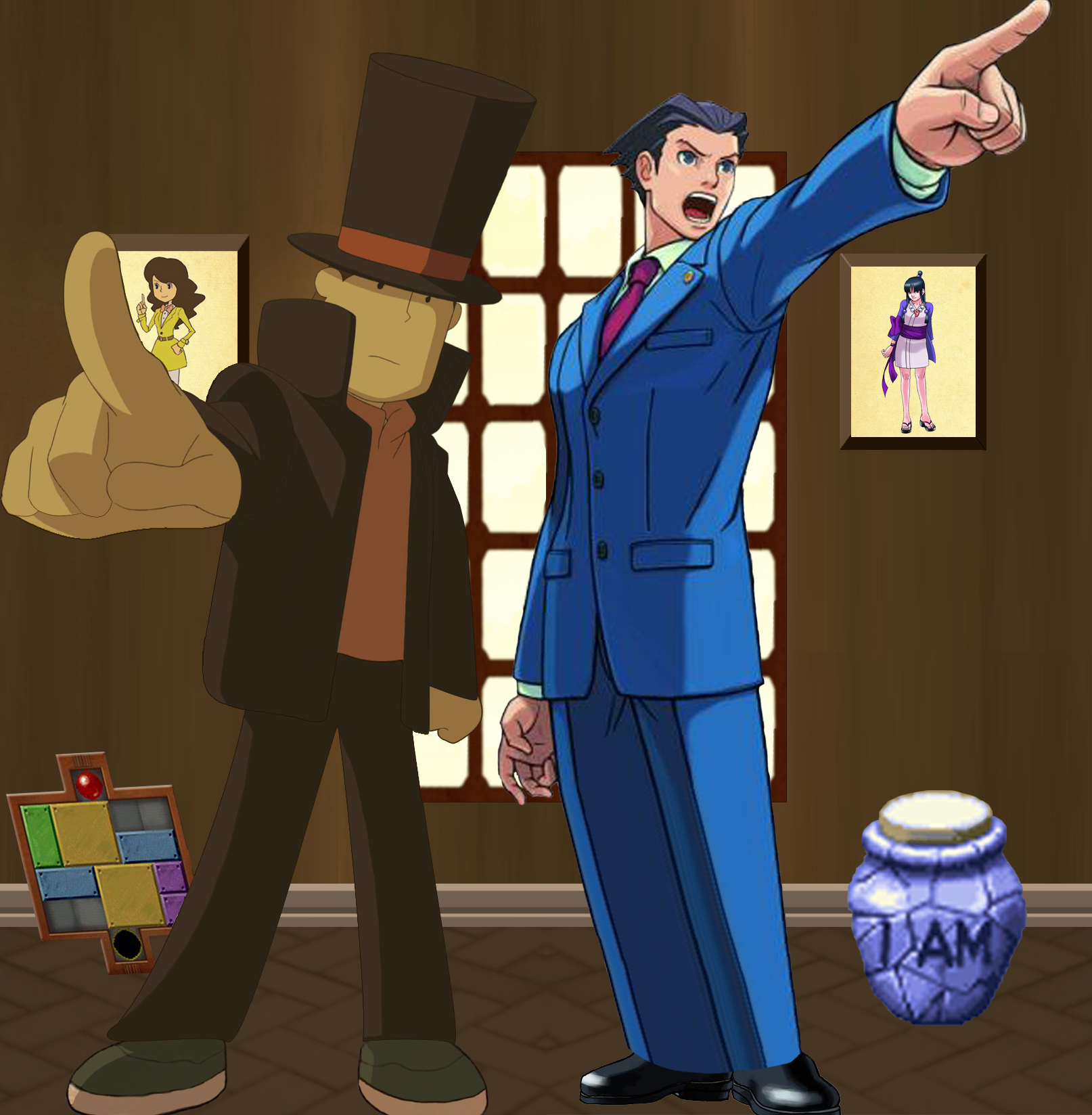 Phoenix Wright meets Layton