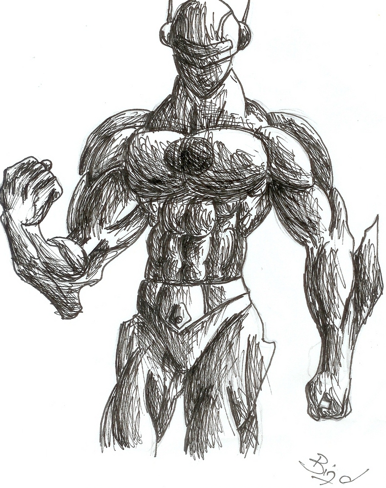 super hero scribble