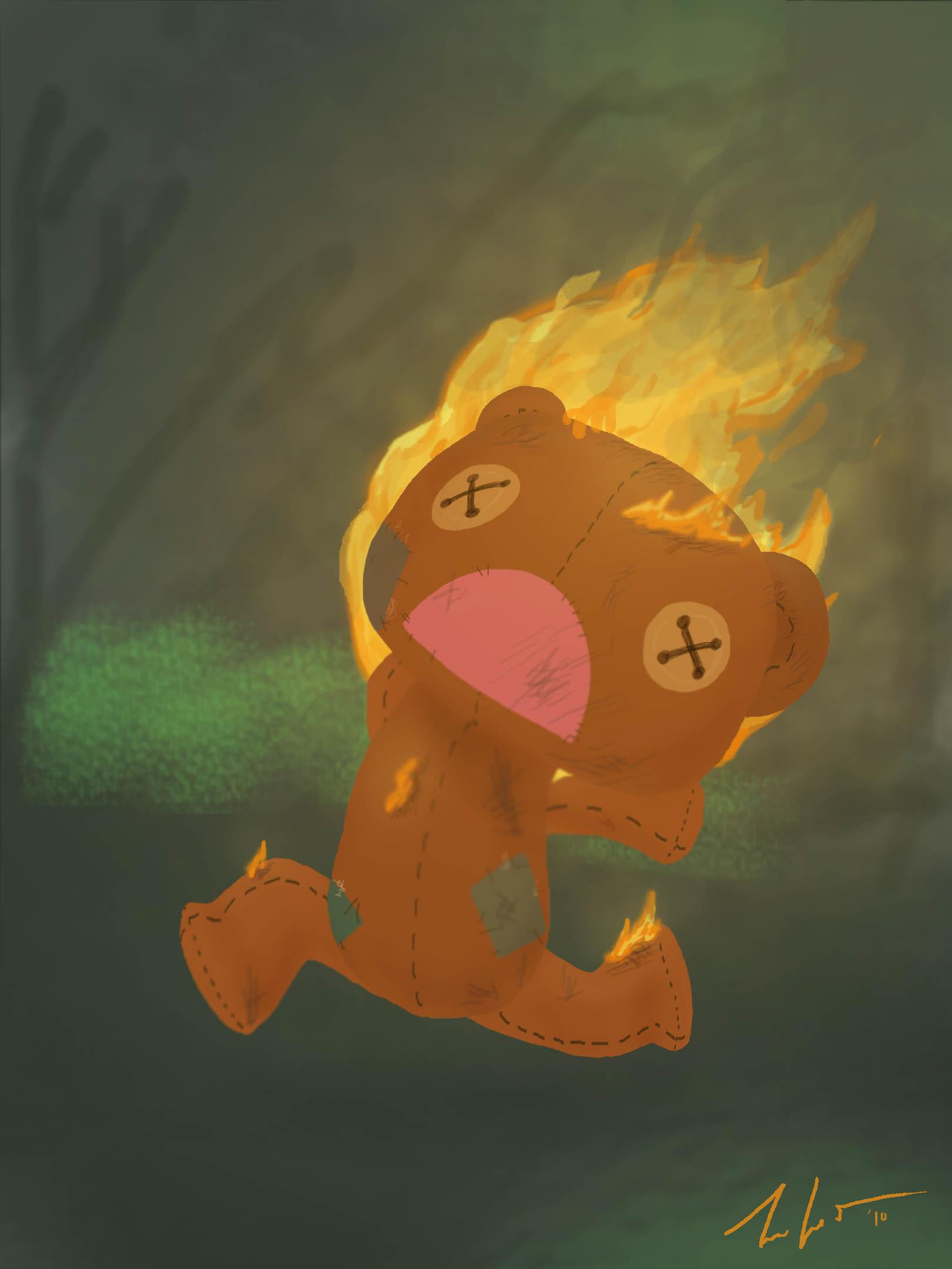Flaming Teddy Bear