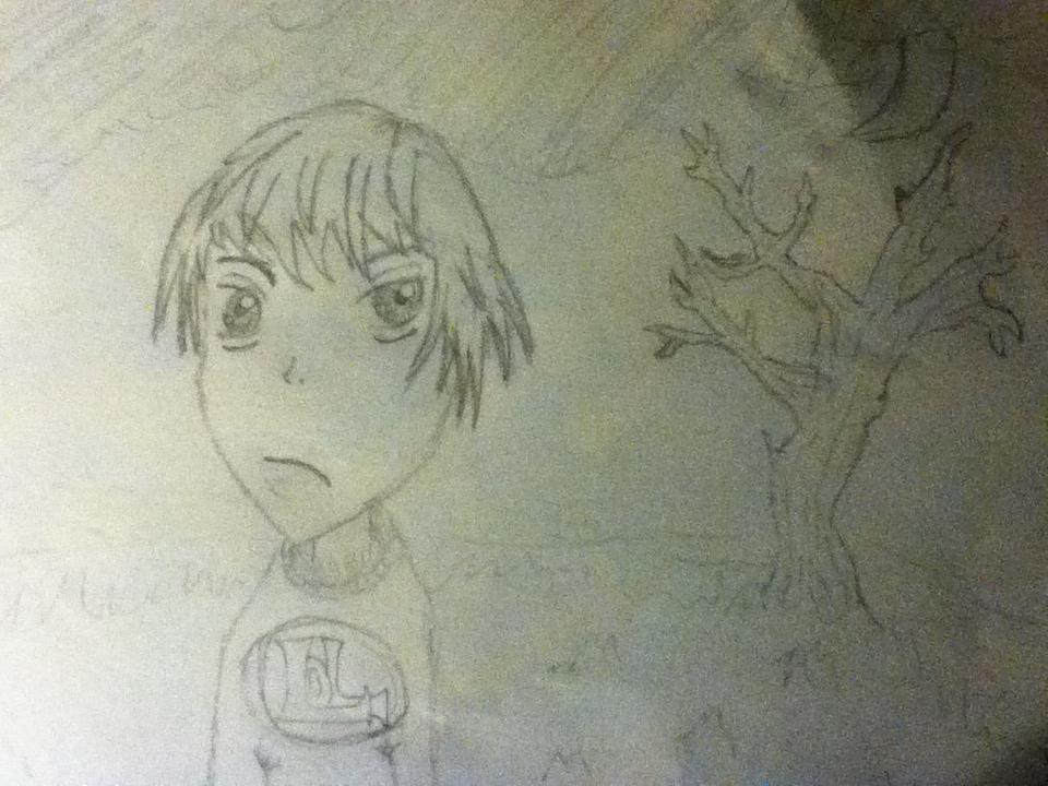 Manga boy with tree