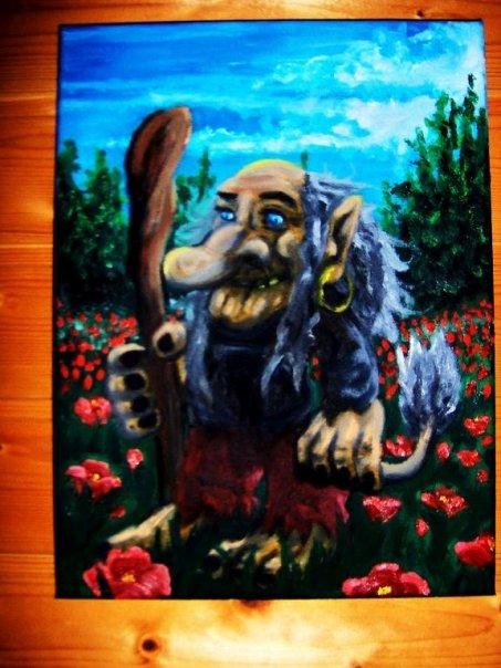 Troll on a flower field