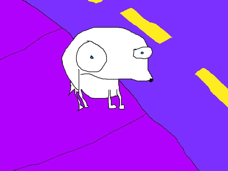 Dog on the sidewalk