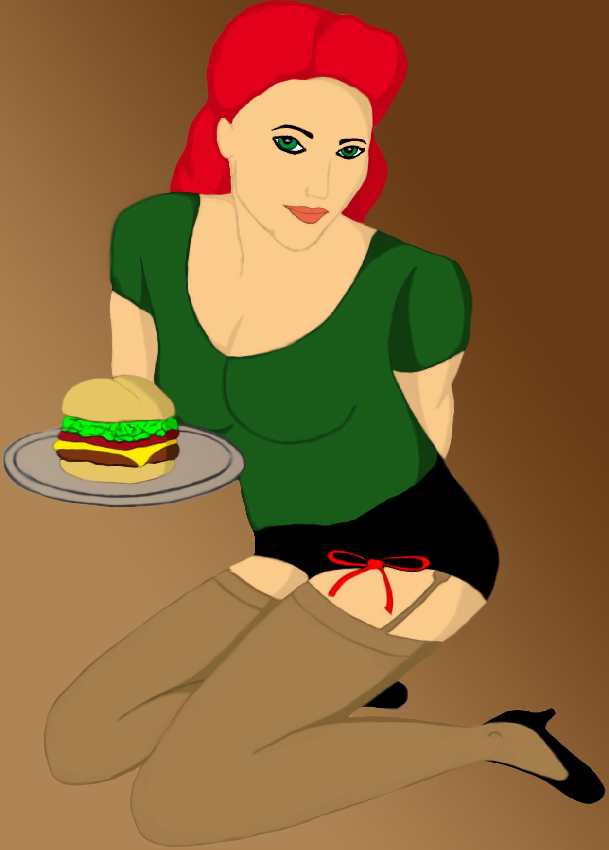 Pin Up Girl with Burger