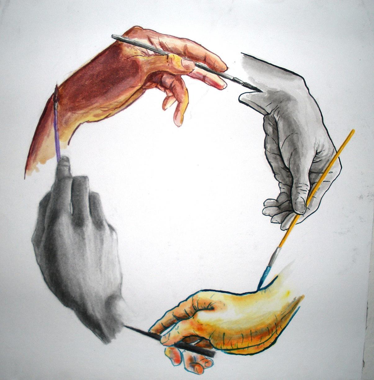 Hand drawn hand