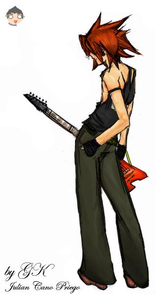 Lone guitar man