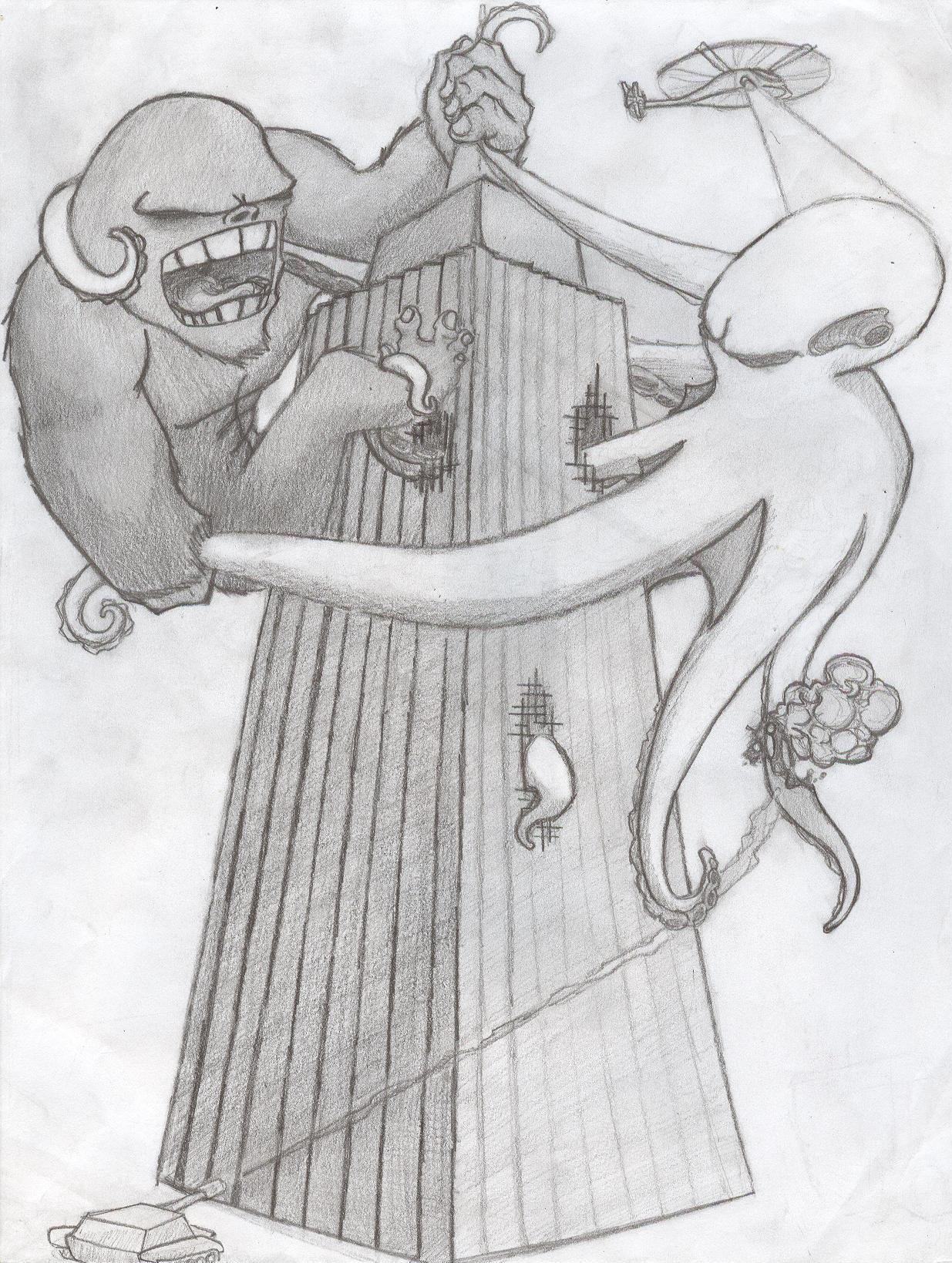 Gorilla Vs Octopus
