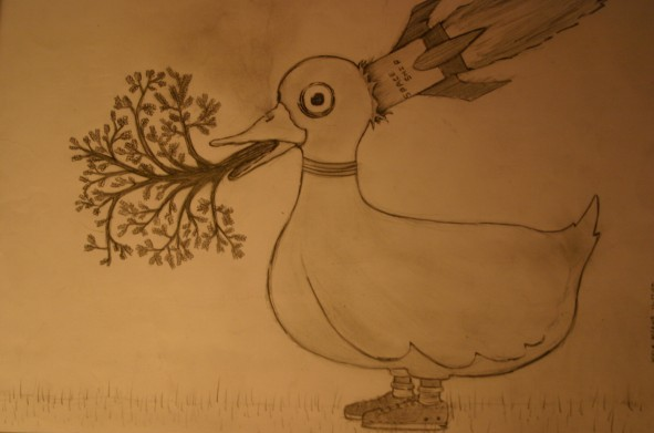 Duck with shoes