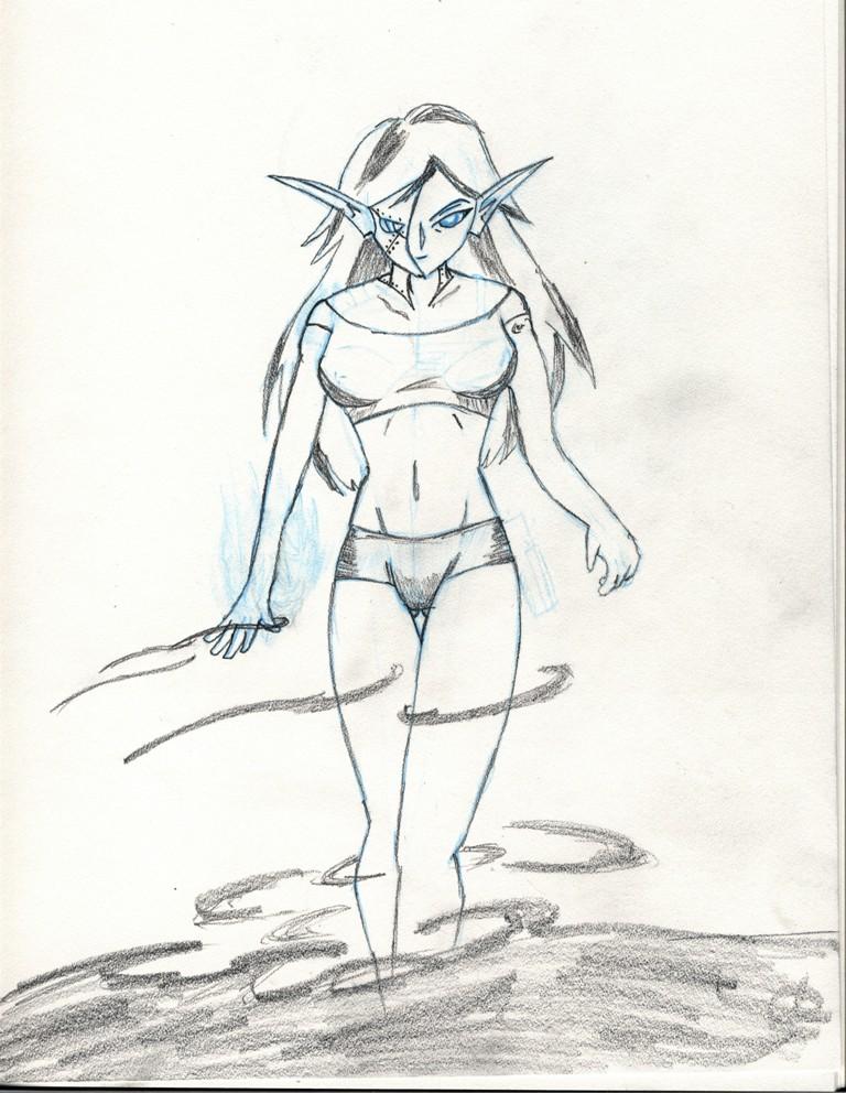 Elf woman wif Half mask