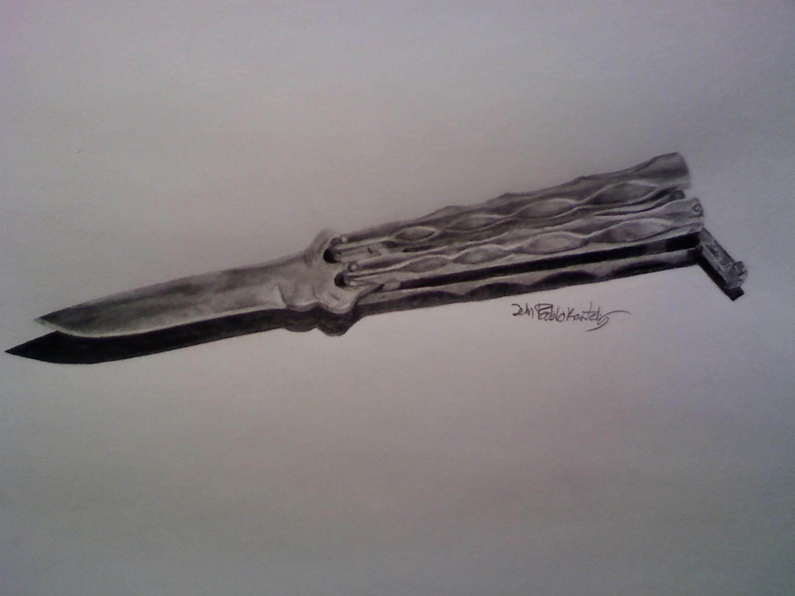Butterfly knife in B&W