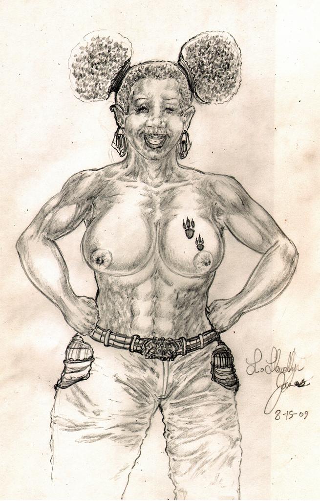A Topless Black Woman