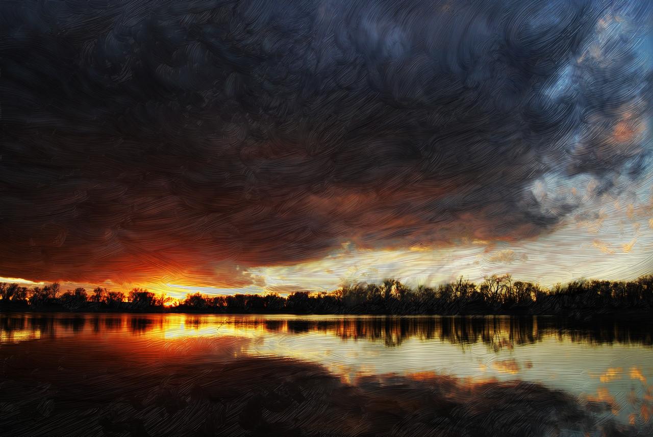 Painted Sunlit Lake