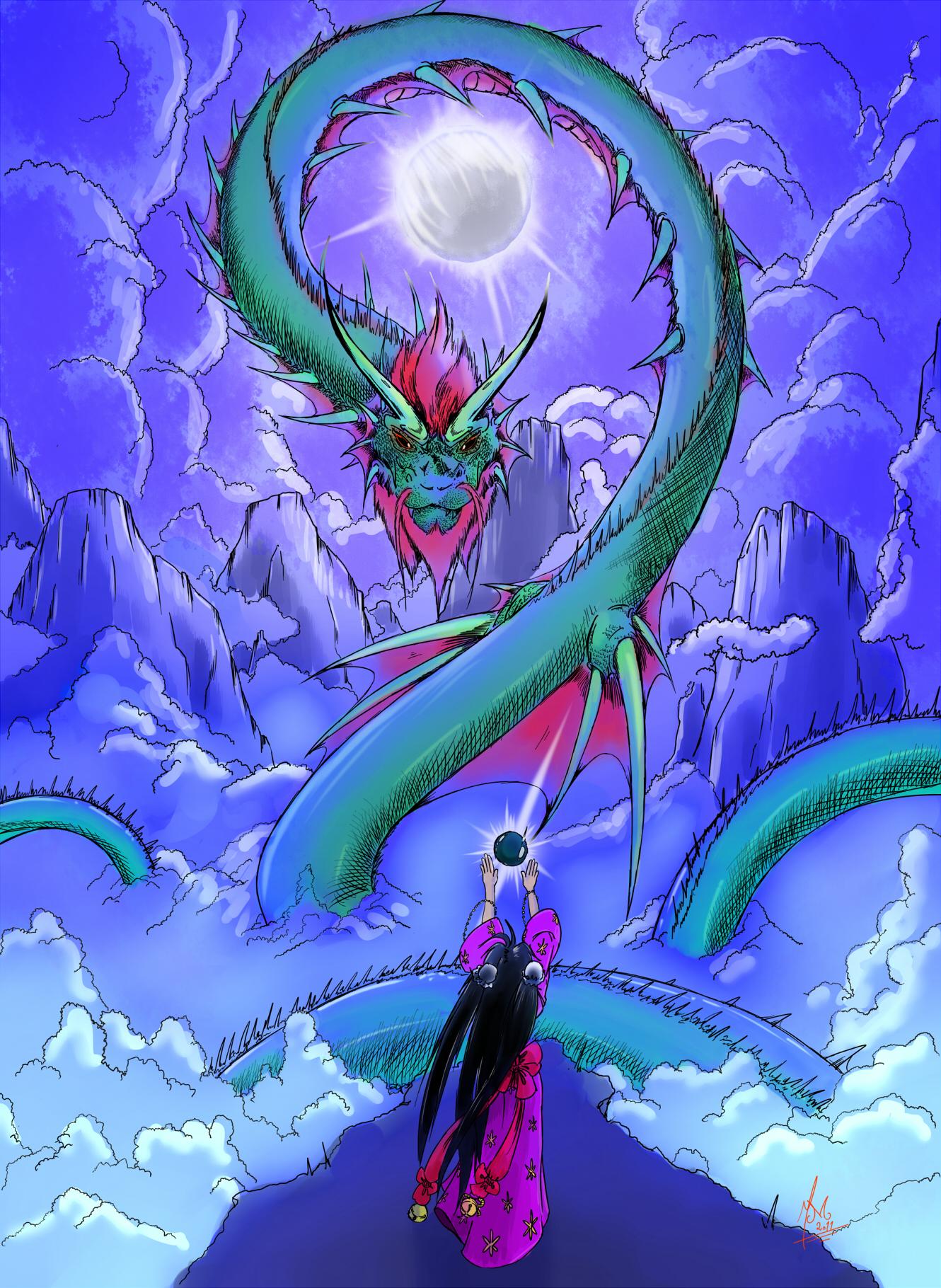Commission: moonlit dragon