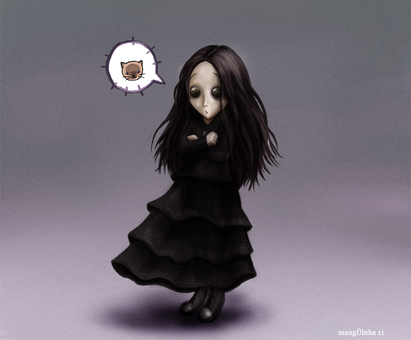 Goth Girl and Cat