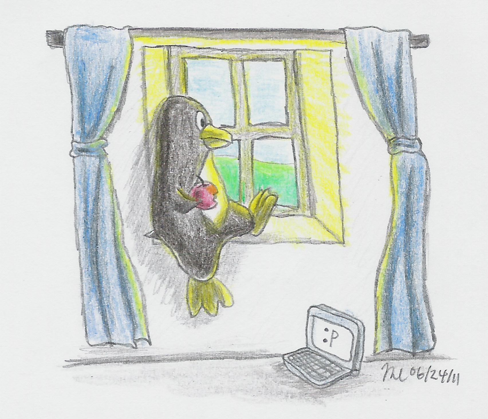 Penguin, Apple, Window