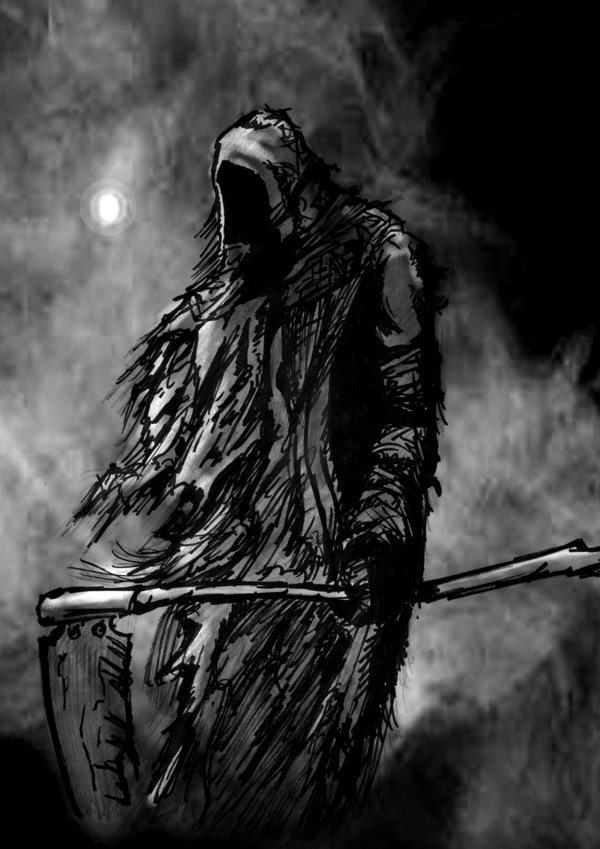 Reaper in mist