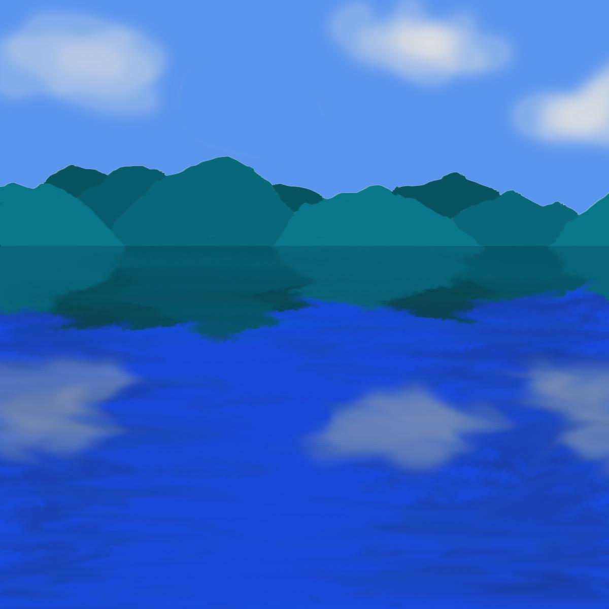 Mountains by a lake