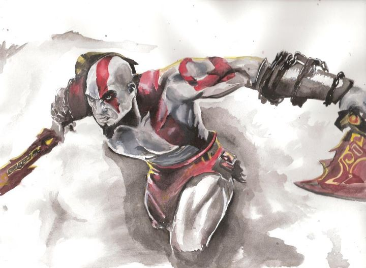 God of War in watercolor
