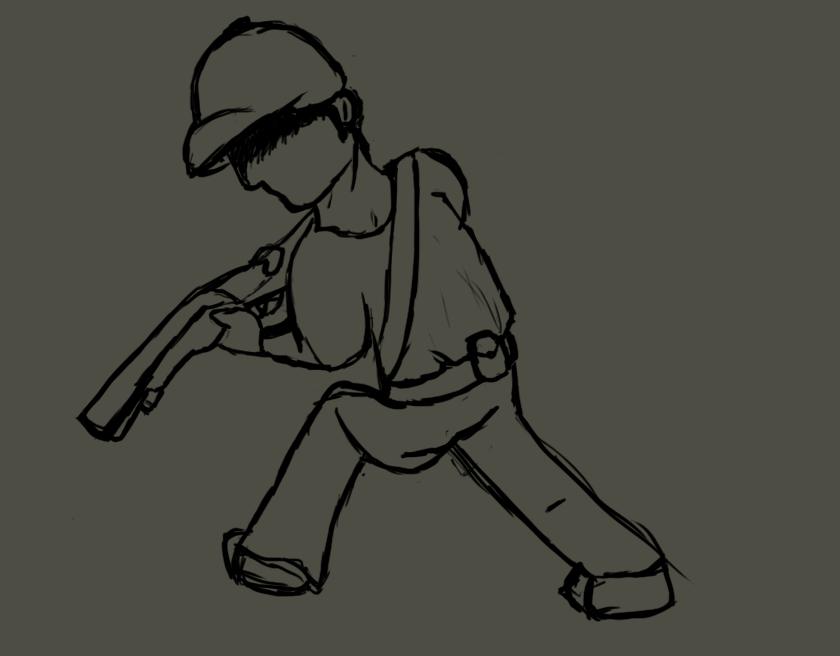 Guy With Shotgun Sketch