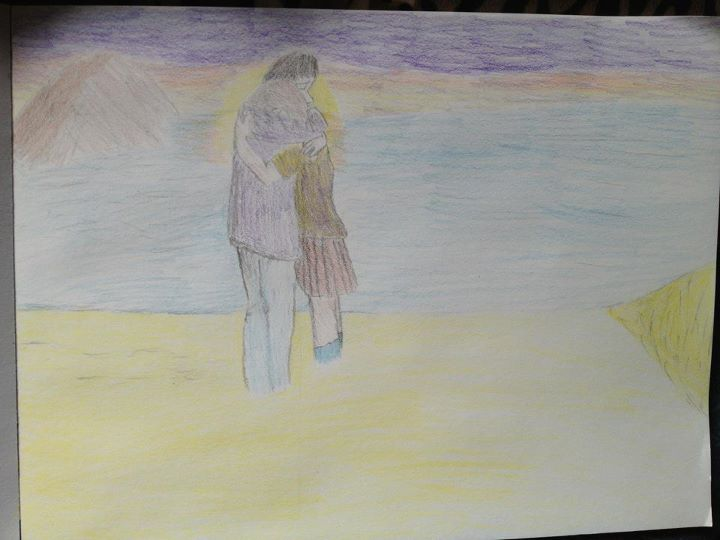 Hug on the beach sunset