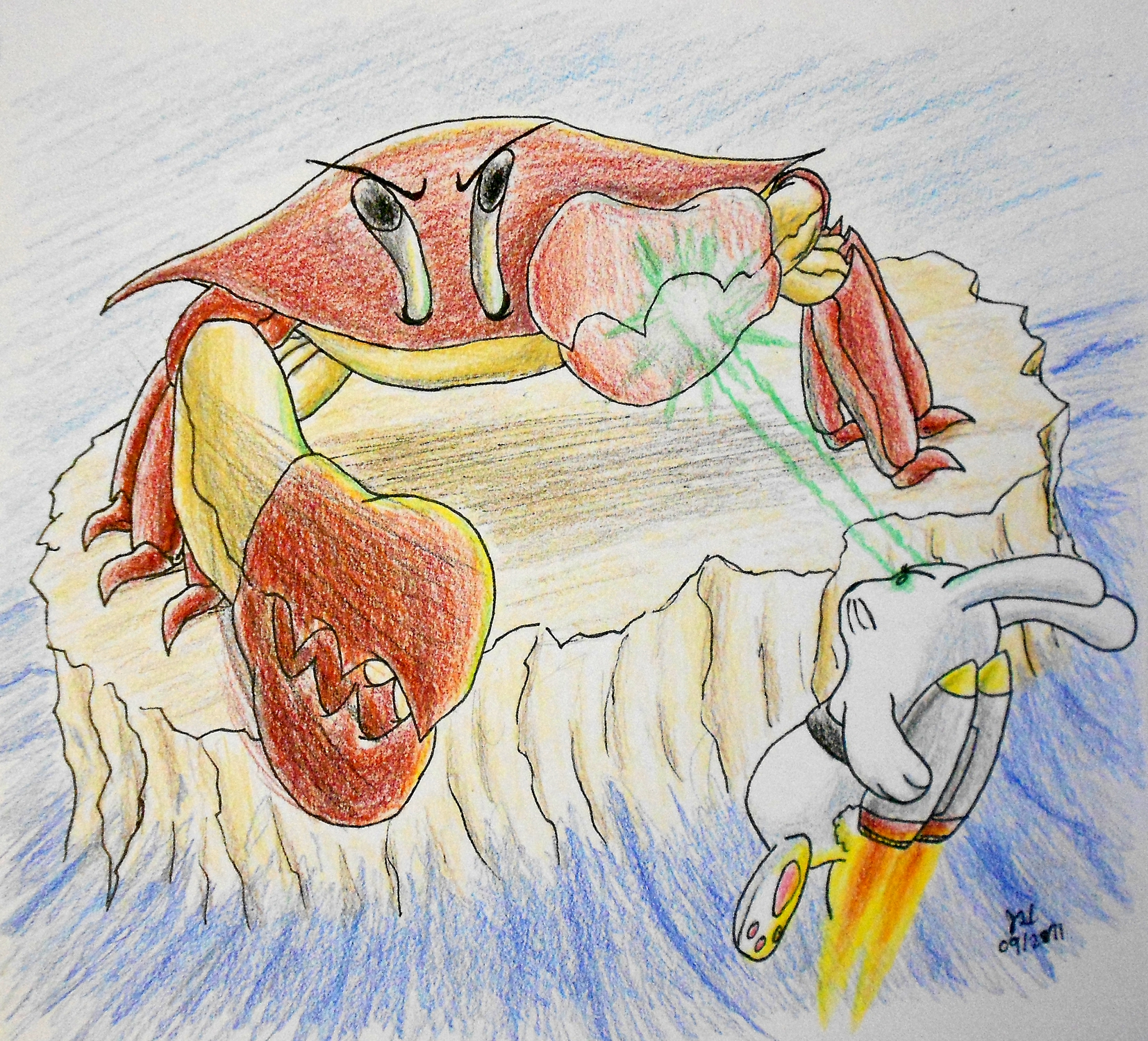 Jetpack Bunny vs. Giant Crab