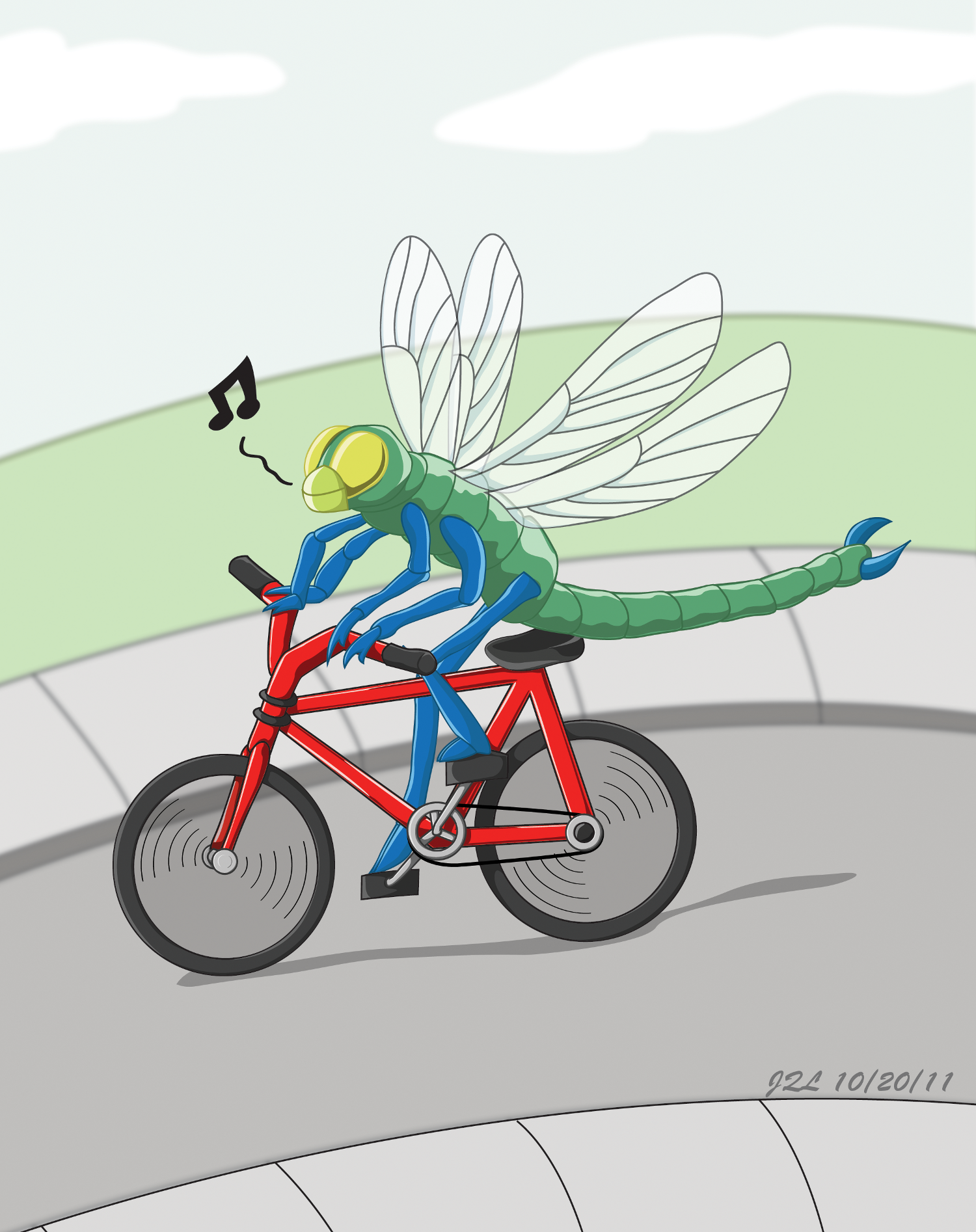 Dragonfly Riding Bicycle 2