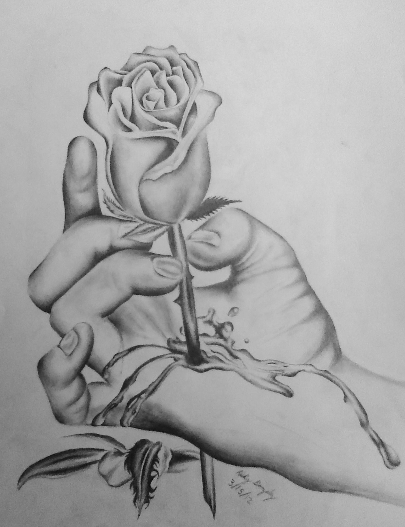 bleeding hand rose