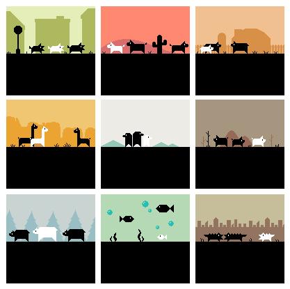 some animals running around