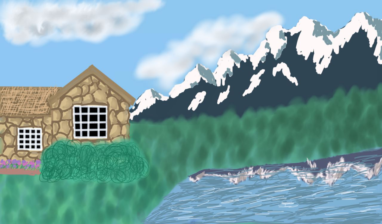 cottage and mountain