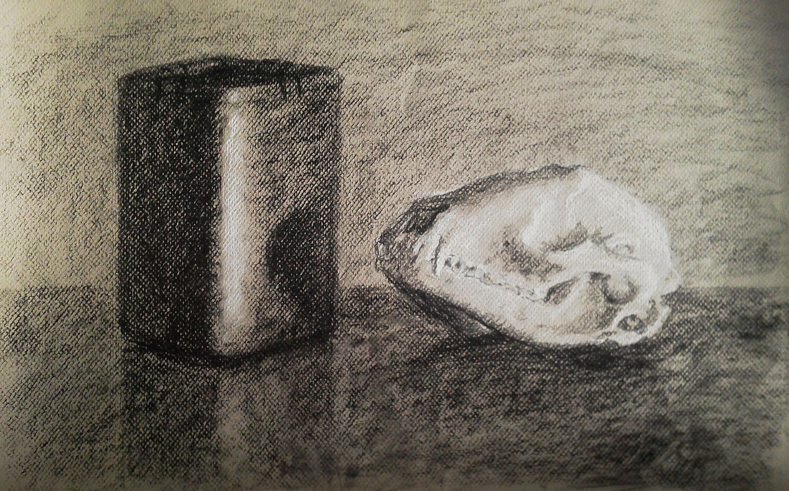 Charcoal Skull Still Life