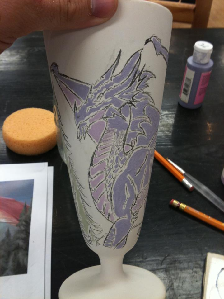 Ceramic Art! Purple Dragon Cup