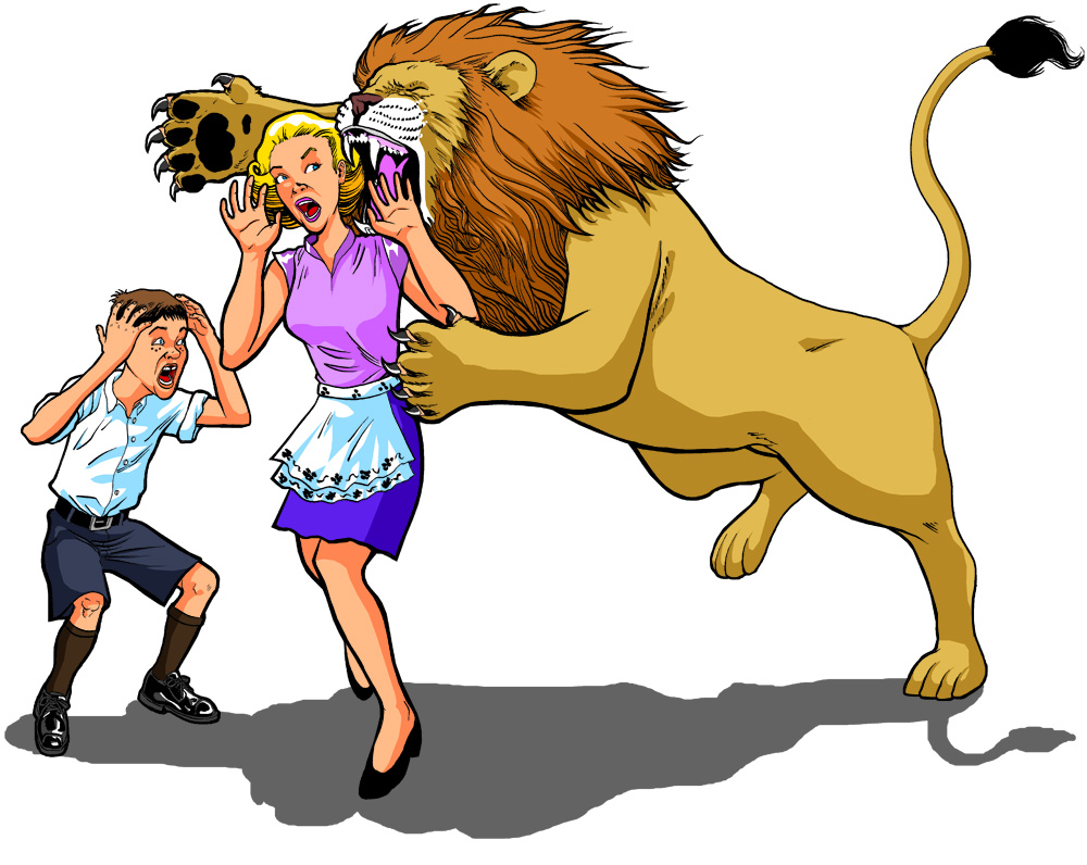 Lion Attacking Woman