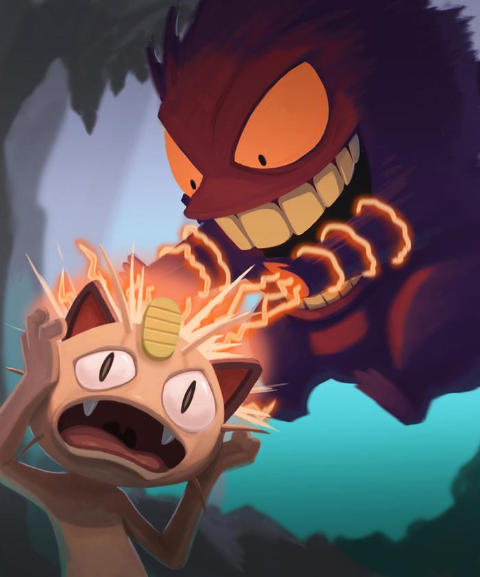 Meowth vs Gengar