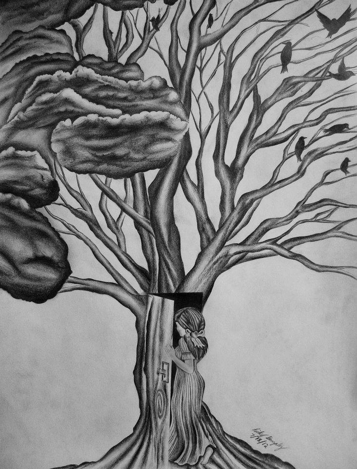 girl walking in to tree