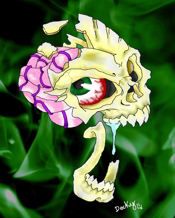 Green Flame Skull