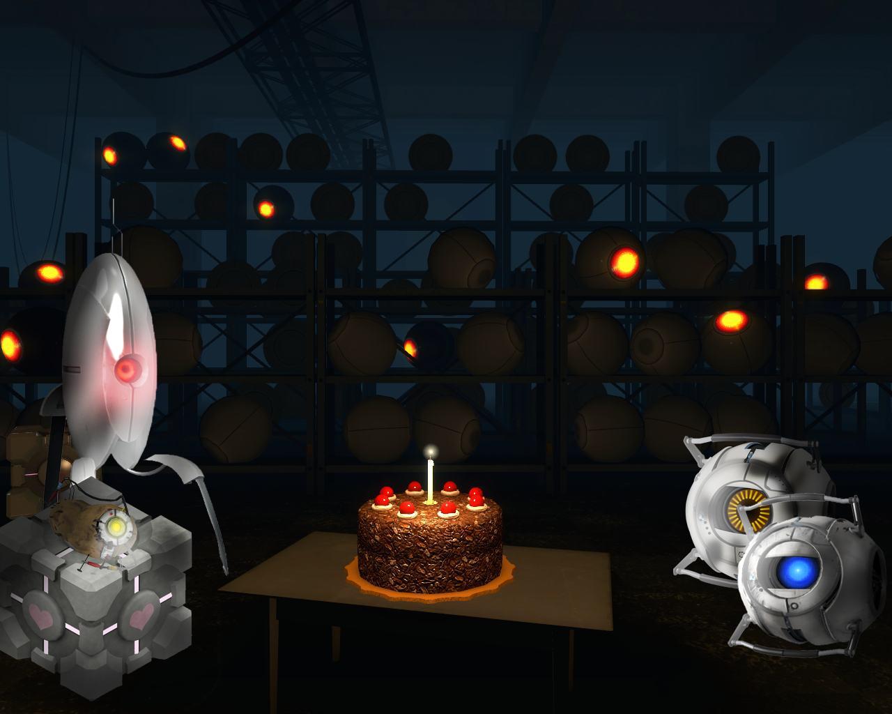Portal 2 cake gathering