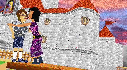 a tongue kiss at Marios castle