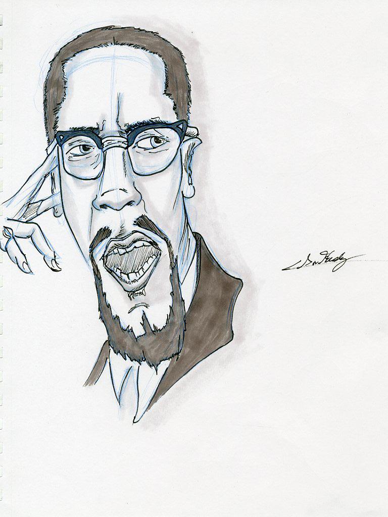Malcolm X Caricature
