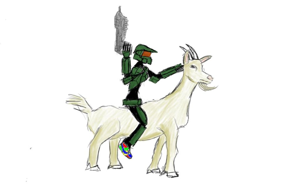 Girl masterchief riding a goat