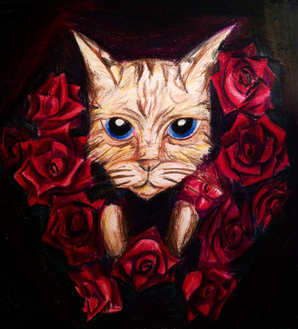 Cat and Roses.