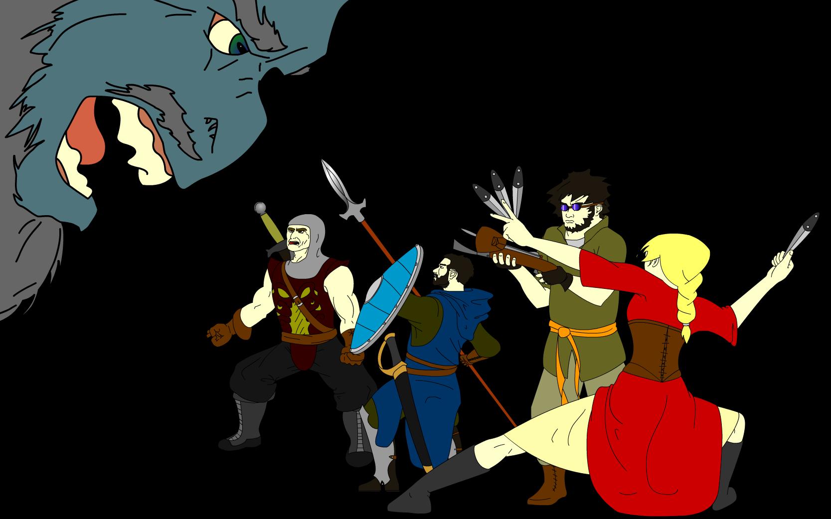 Adventurers vs a Giant Troll