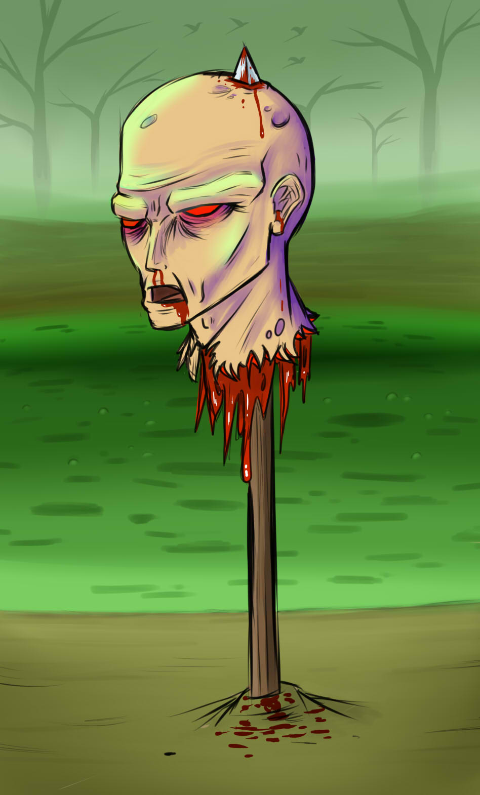 Zombie Head-on-a-stick